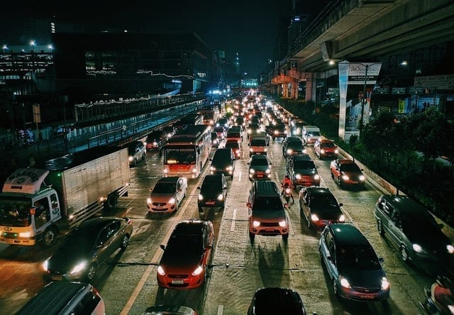 heaver traffic in the city the reason you should wear a face mask when cycling
